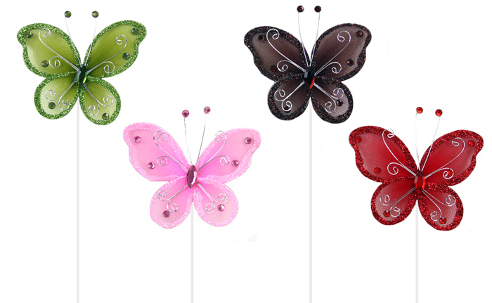 Schmetterling an<br> Stab 4 fach<br>sortiert - ca 31cm