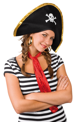 Hat - Pirate Lucky black ca 43x27 cm
