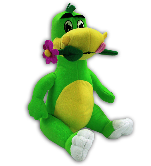 Dino with flower<br> in mouth - sitting<br>about 33cm