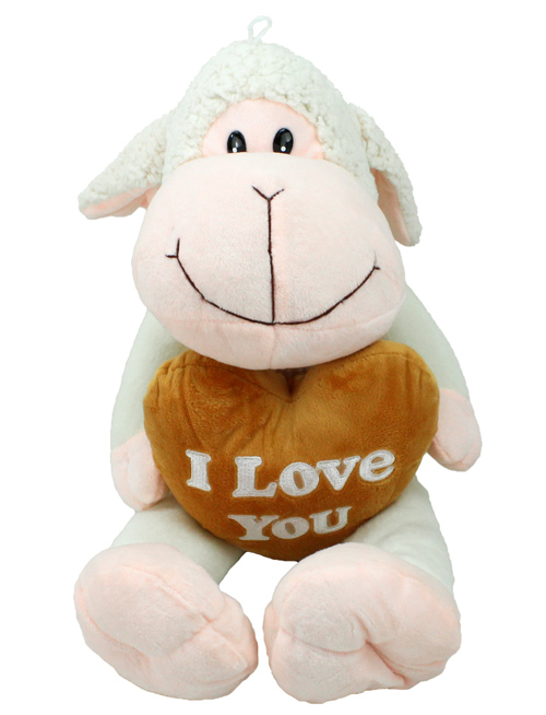 Sheep with brown<br> heart, I LOVE YOU,<br>about 45 cm