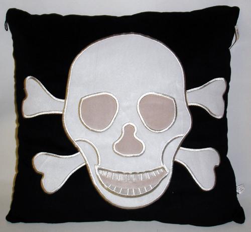 Totenkopfkissen ca<br>60 cm  schwarz