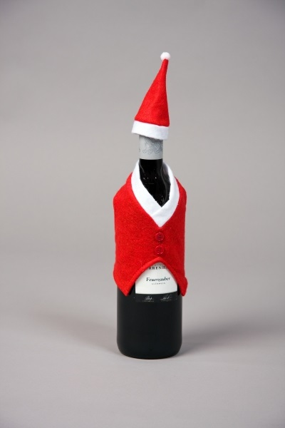 Flaschen-Deko:<br>Weste und Mütze
