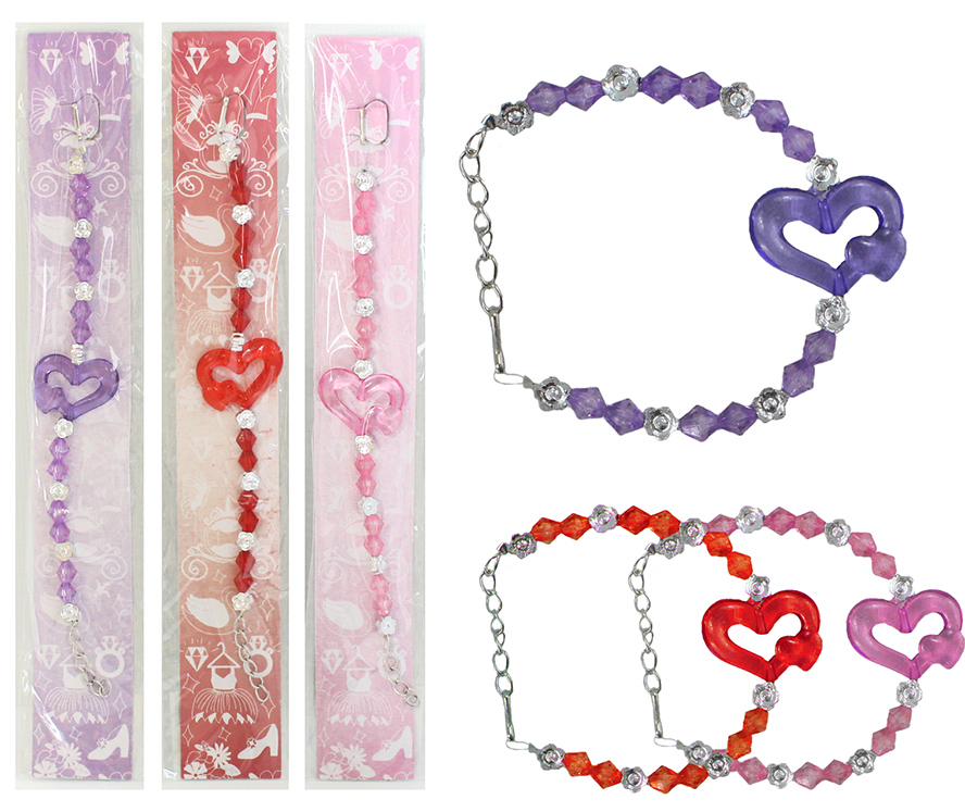 Bracelet Heart<br> sorted - approx<br>19cm circumference
