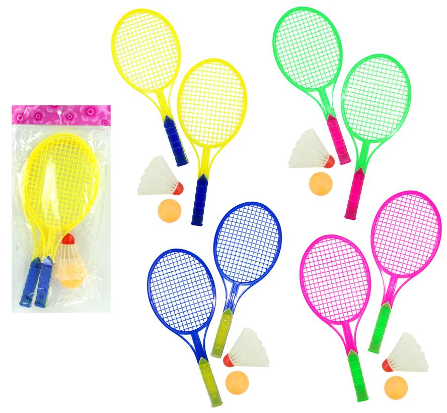 Federballspiel - 4<br> farbig sortiert ca<br>27 cm