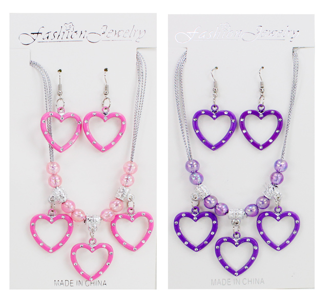 Necklace and<br> Earrings with<br> Heart 3-fold sort ...