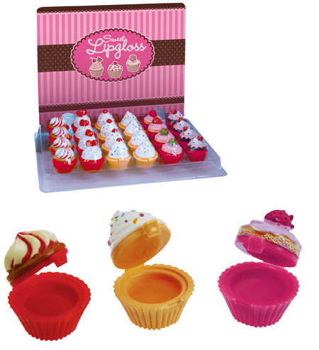 Lipgloss in<br> Cupcakeform with<br>taste 6 fach sort