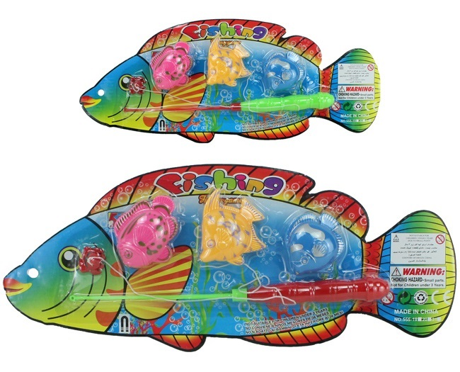Fishing Set with 3<br> fish on map ca<br>38x15cm