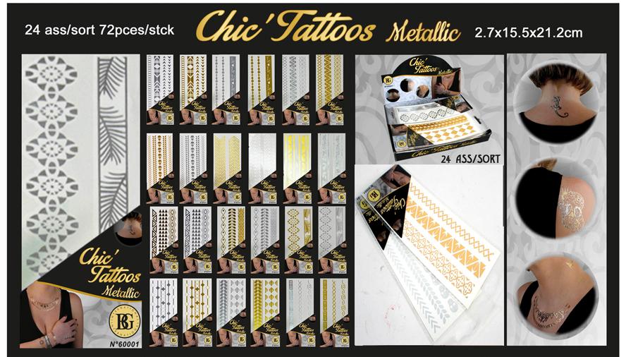 Metallic Tatouages<br> Bijoux 12 fois<br>de tri - Carte