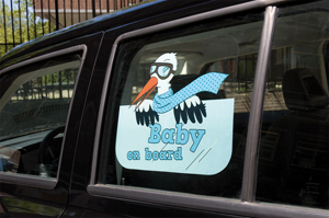 Window sticker<br> boys, baby on<br> board, - approx ...