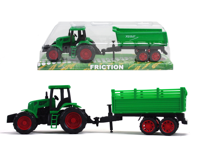 Tractor green<br> 2-fold sorti with<br>trailer and fricti