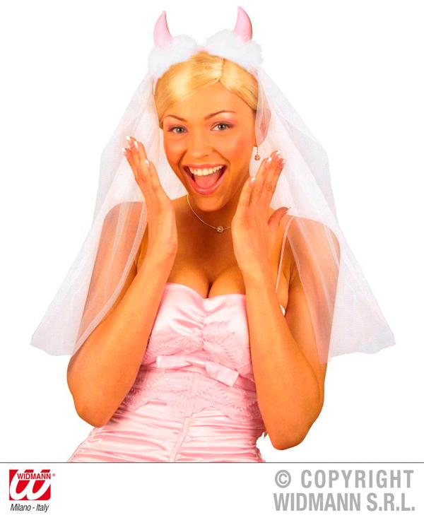 Brautschleier mit<br>rosa Teufelshörnern