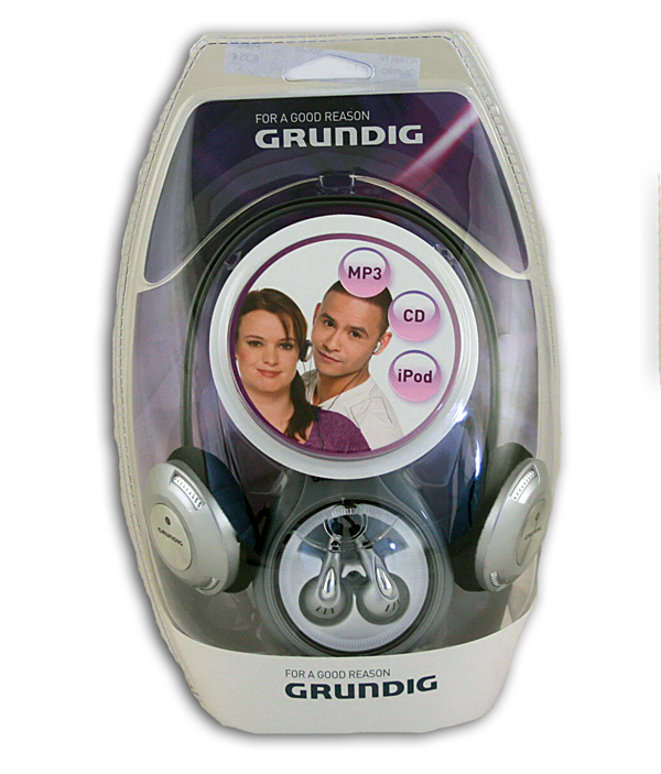 Grundig 2 in 1<br> stereo headphone<br>for MP3, CD and ip