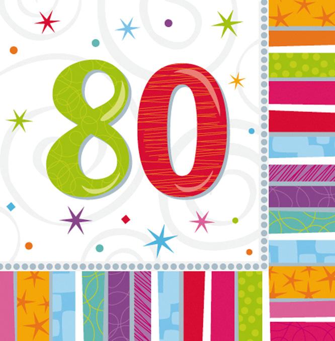 Servietten '80'<br> Geburtstag 16<br>Stück ca 33x33cm
