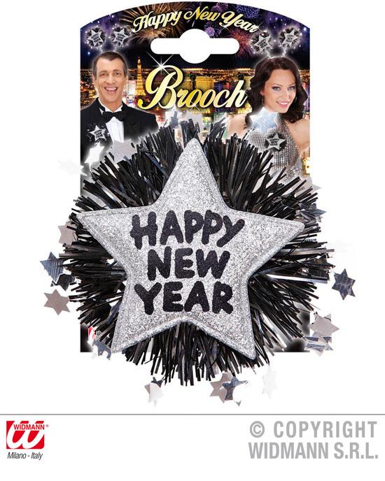 Brosche ,Happy New<br> Year, silber - ca<br>12x12cm