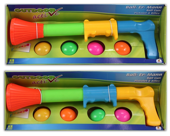 Bal launcher<br> pistool 2 assorti<br>met 4 ballen