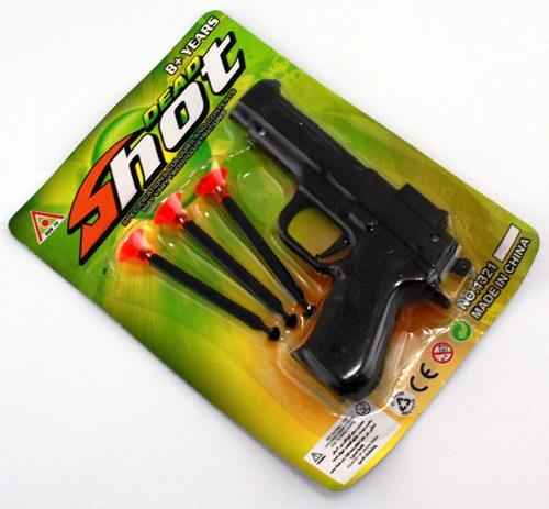 Pfeilpistole ca<br> 11,5 cm auf Karte-<br>ca 17 x 12,5 cm