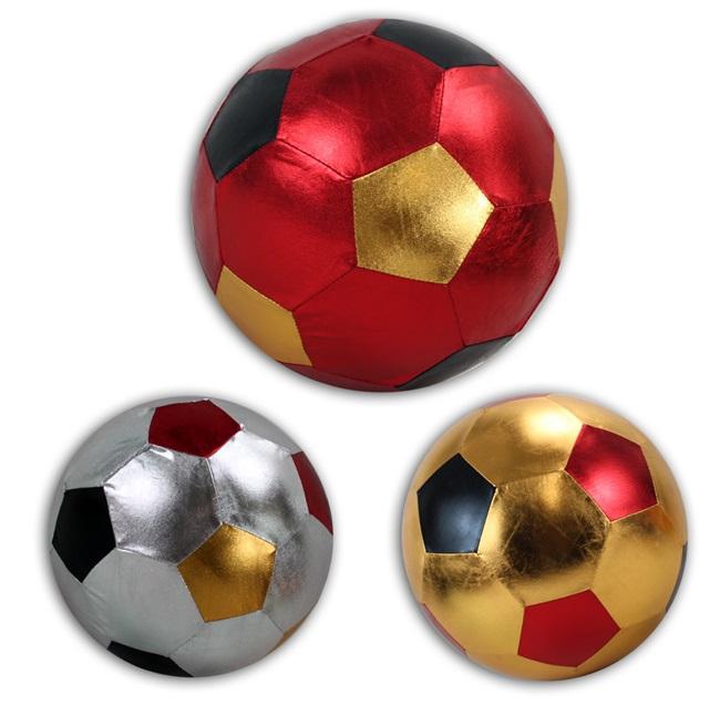 Metallic Fußball<br> im Netz 3-fach<br>sortiert ca 22 cm