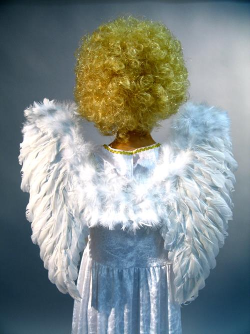 Angel wings made<br> of feathers,<br>white, 50 x 46 cm